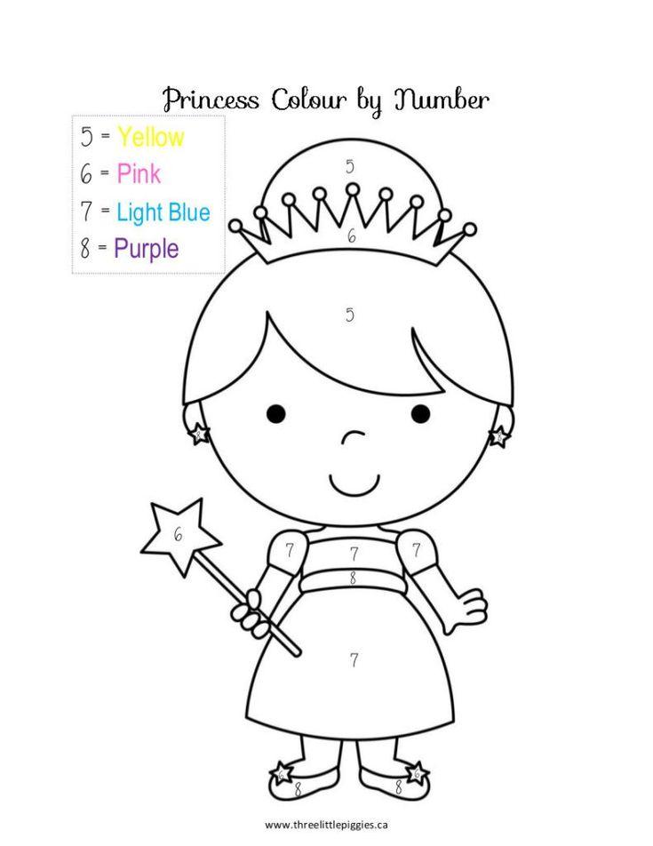 Color By Number Preschool Princess Coloring Princess
