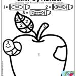 Color By Number Preschool Worksheets Fall Kindergarten