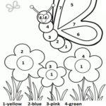 Color By Number Spring Worksheet For Kids Planters