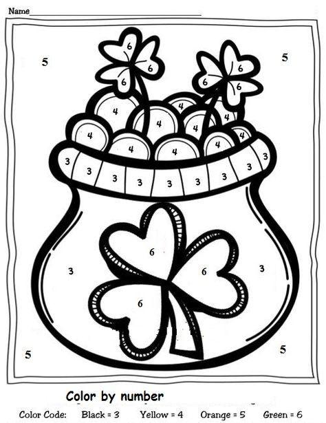 Color By Number St Patrick s Day Worksheet 1 Crafts