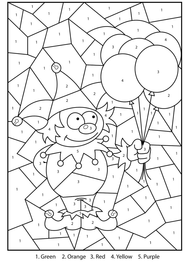 Coloring Pages Free Printable Jester Colour By Numbers
