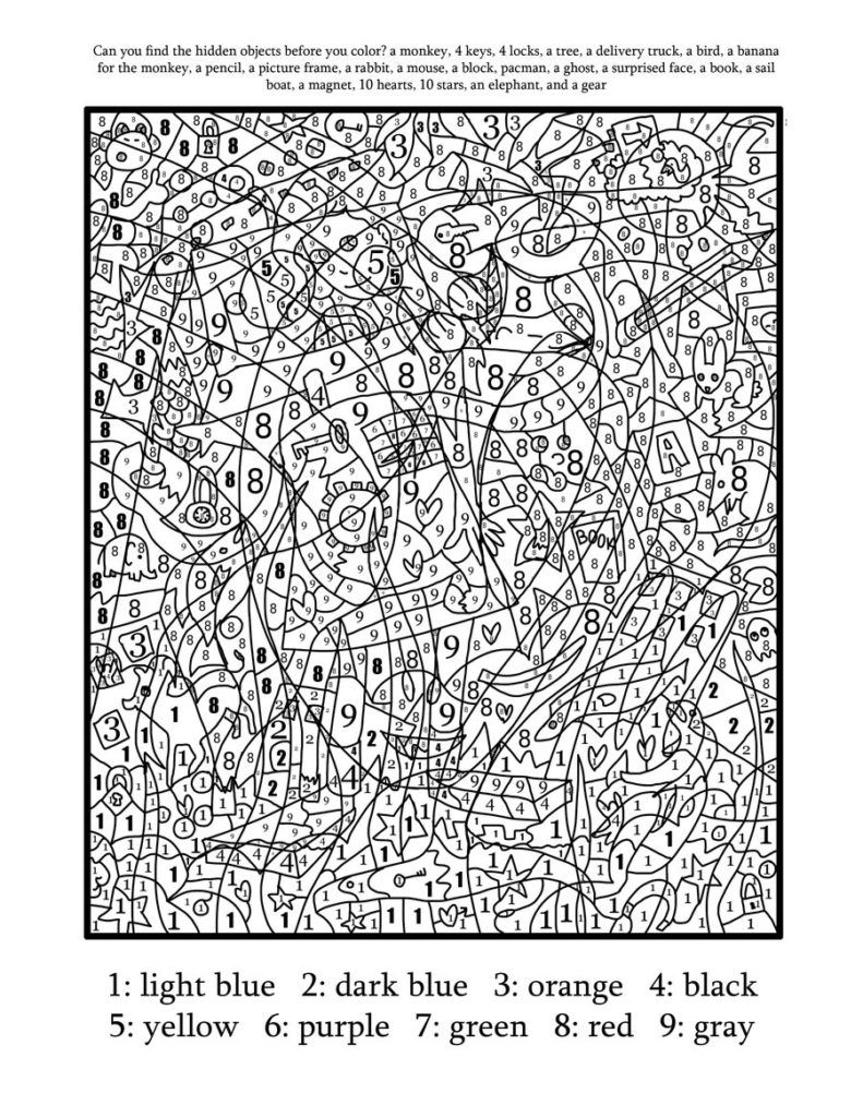Coloring Pages Printable Color By Number For Adults Free