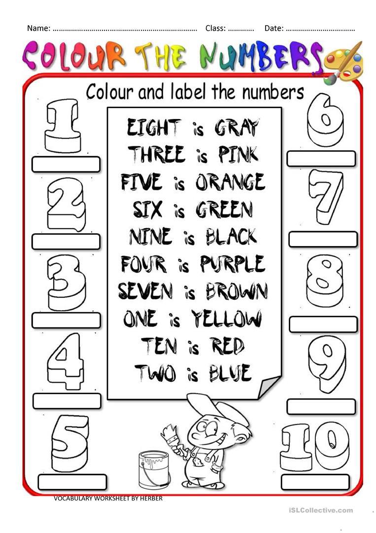 COLOUR THE NUMBERS Worksheet Free ESL Printable