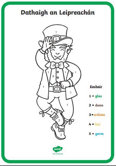 Dathaigh An Leipreach n Colour The Leprechaun By Numbers