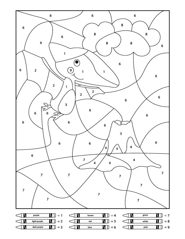 Dinosaur Color By Number Printables