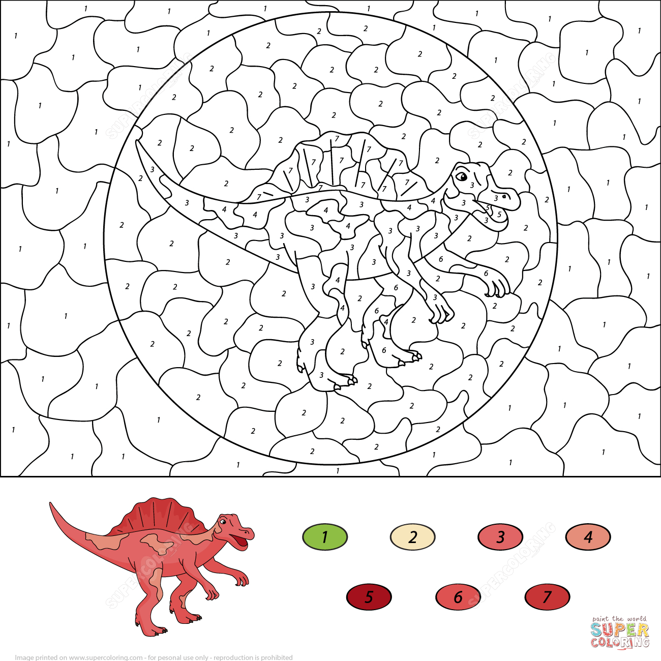 Dinosaur Coloring Pages By Numbers Coloring Home