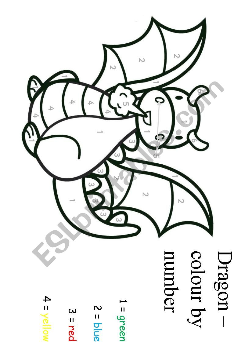 Dragon Colour By Number ESL Worksheet By Paoldak