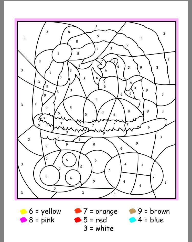 Easter Color By Numbers Easter Colors Easter Coloring