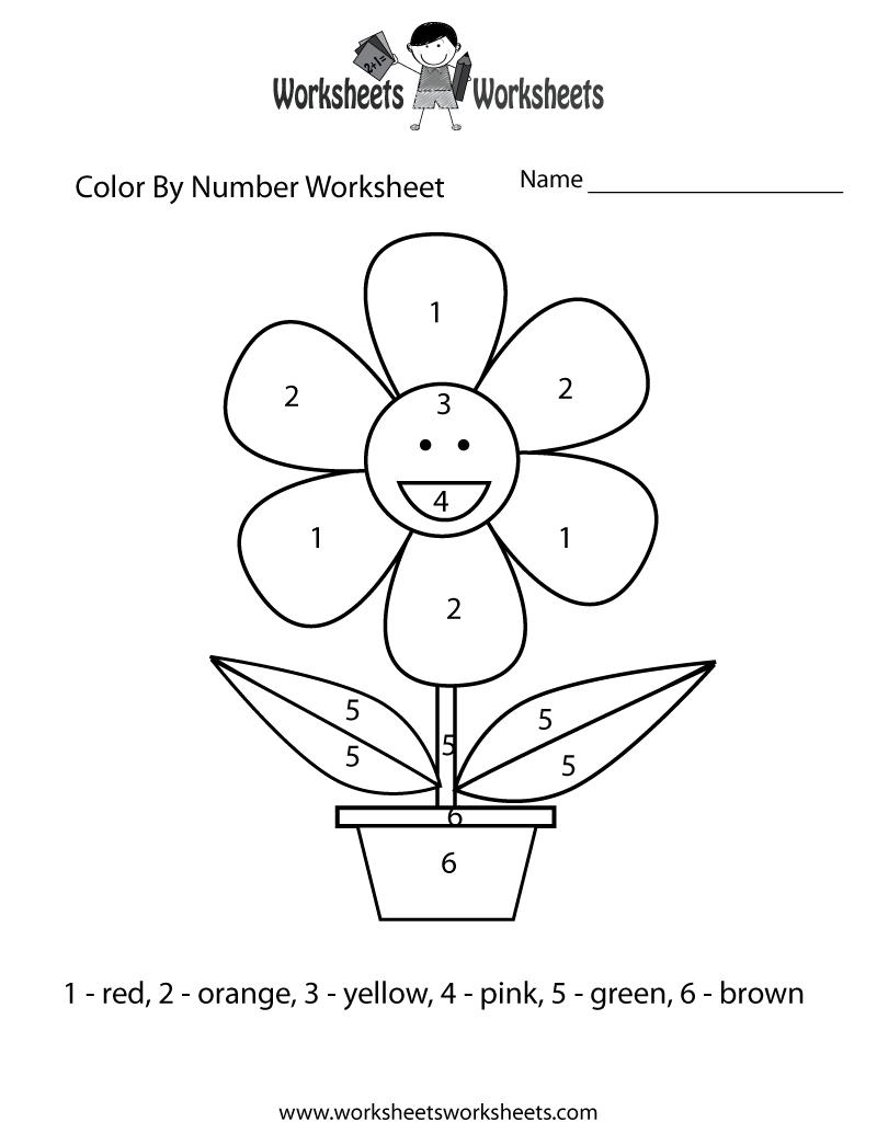 Easy Color By Number Worksheet Worksheets Worksheets