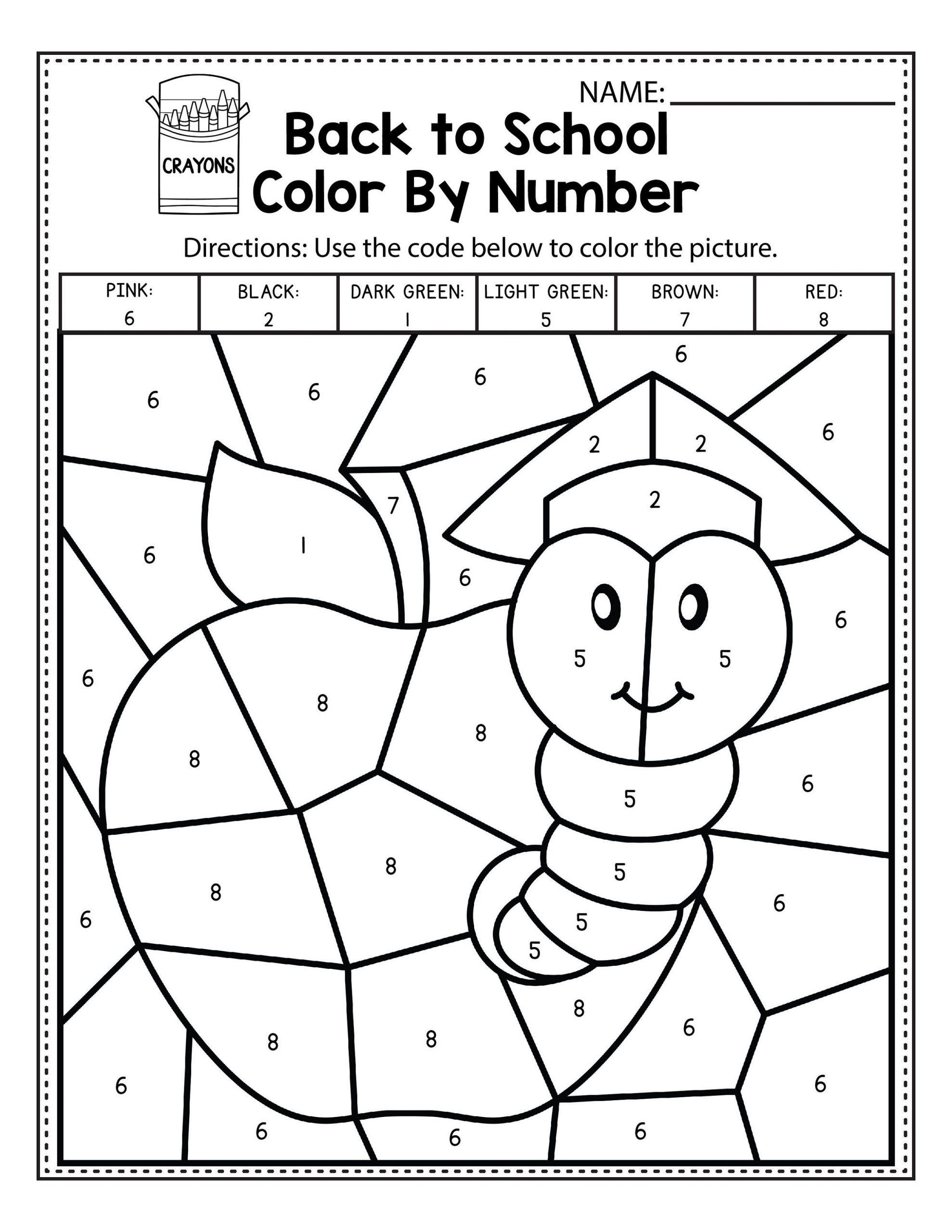 Easy Color By Number Worksheets For Kindergarten 101