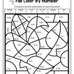 Fall Color By Number Addition Worksheets Worksheet Hero