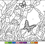 Flower Garden Color By Number Free Printable Coloring Pages