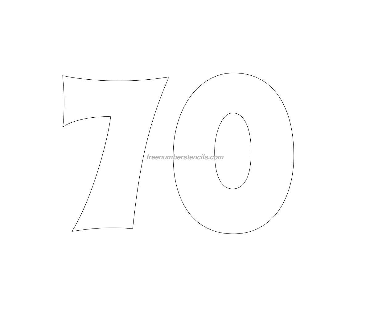 Free Groovy 70 Number Stencil Freenumberstencils