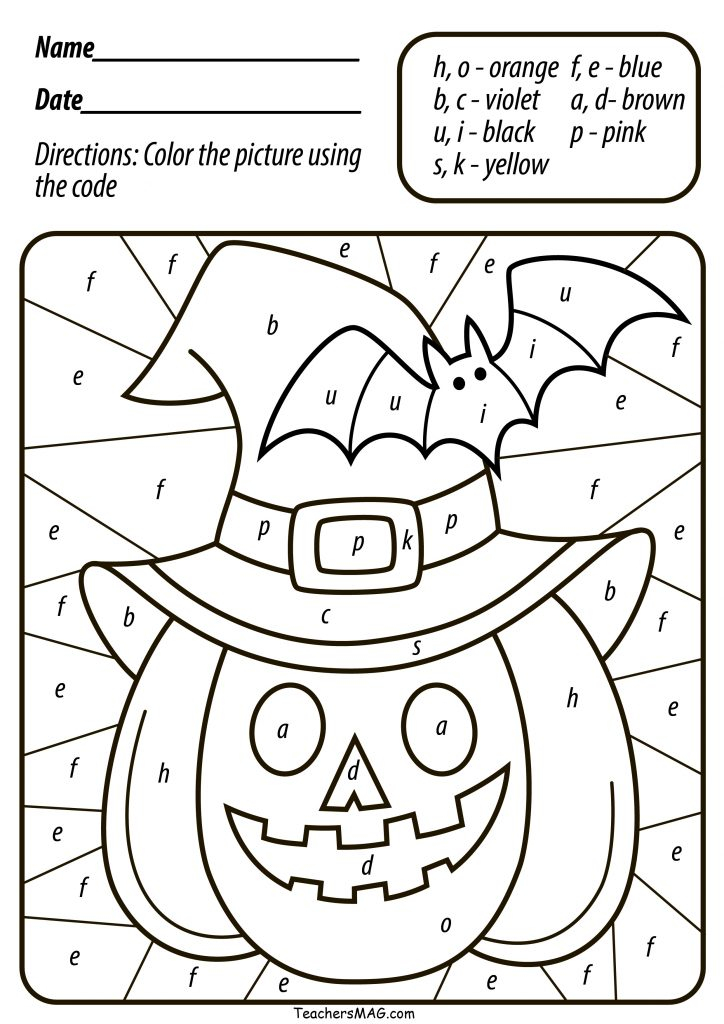 Free Halloween Pumpkin Color By Number Letter For