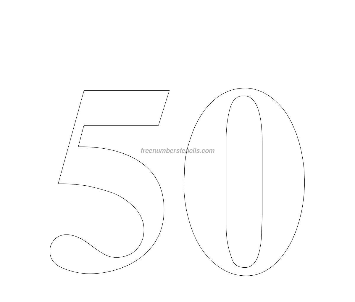 Free Huge 50 Number Stencil Freenumberstencils