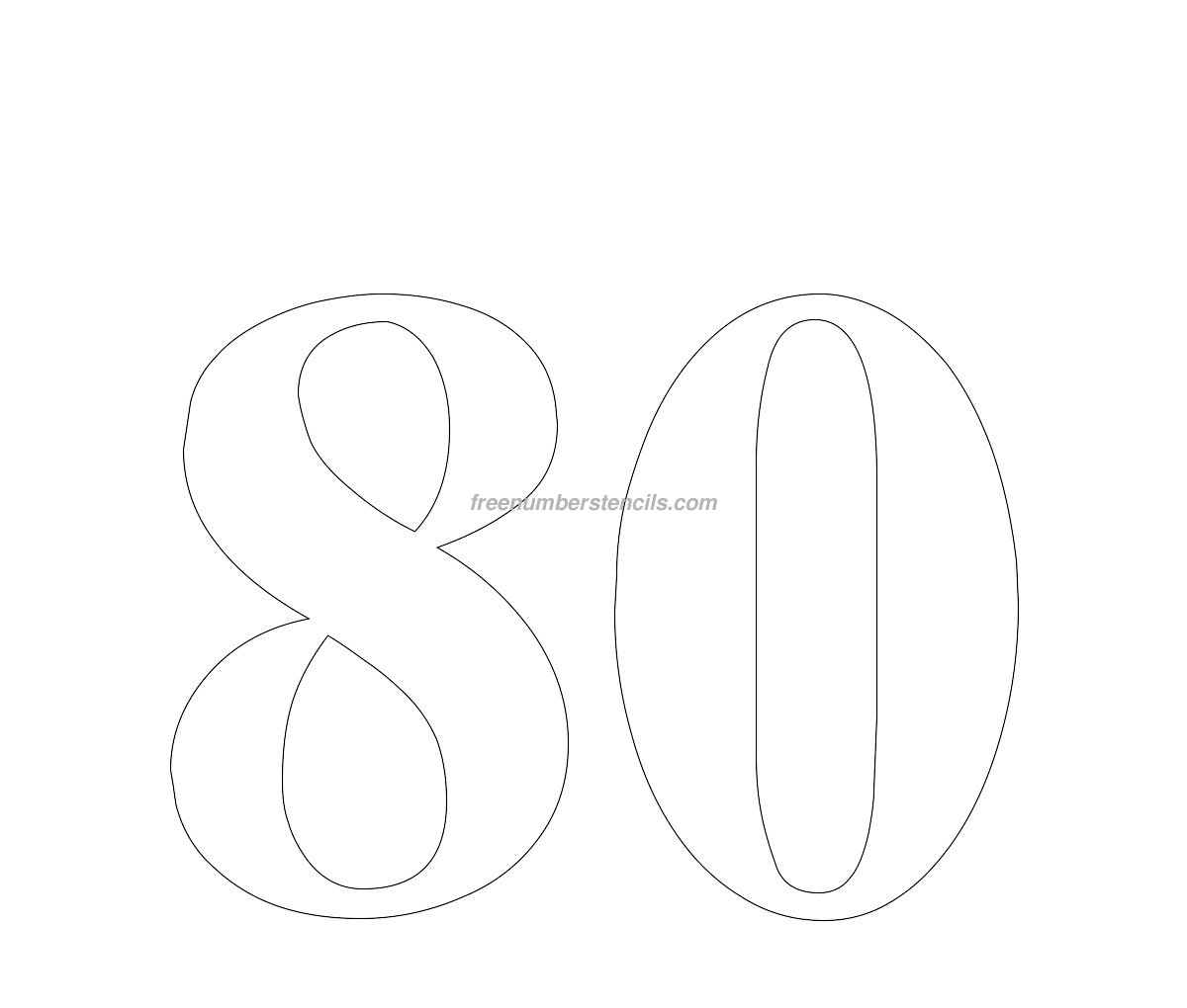 Free Huge 80 Number Stencil Freenumberstencils
