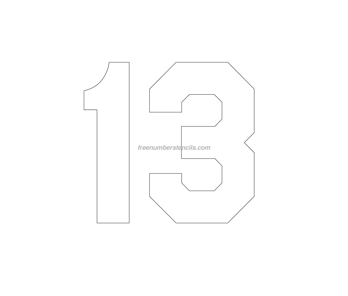 Free Jersey Printable 13 Number Stencil