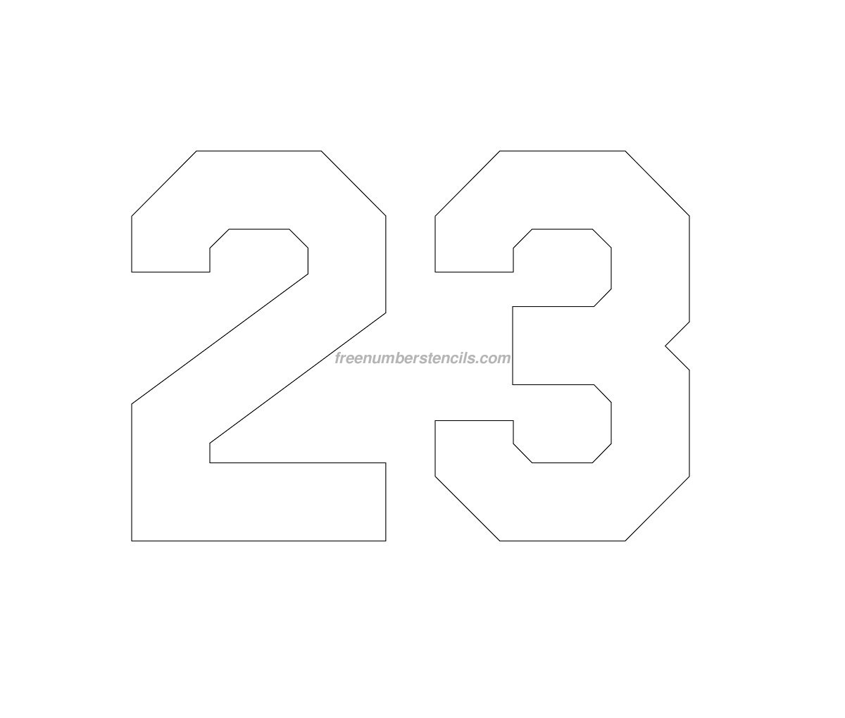 Free Jersey Printable 23 Number Stencil