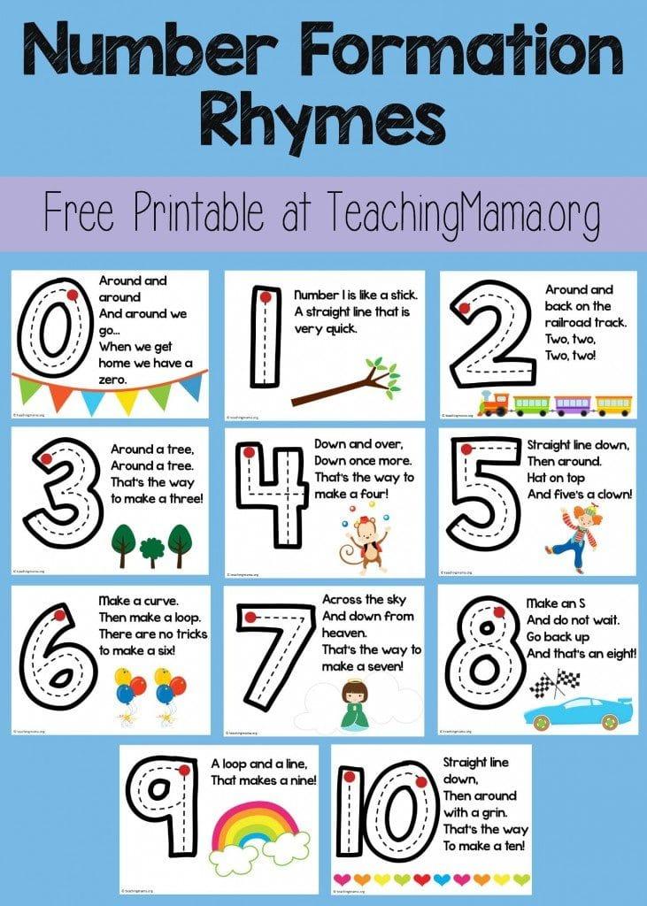 Free Number Formation Rhyme Printable Free Homeschool