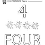 Free Preschool Number Four Learning Worksheet