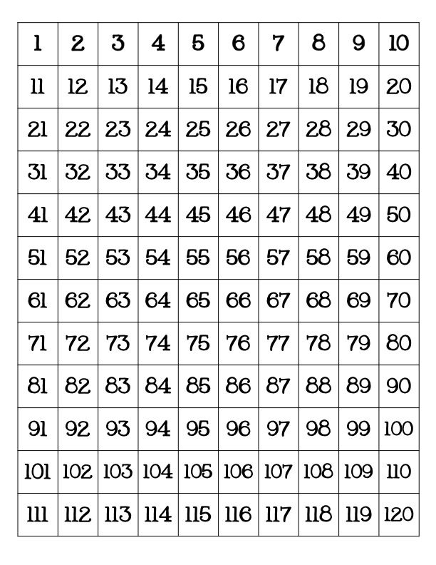 Free Printable 120 Number Chart 120 Chart 120 Chart