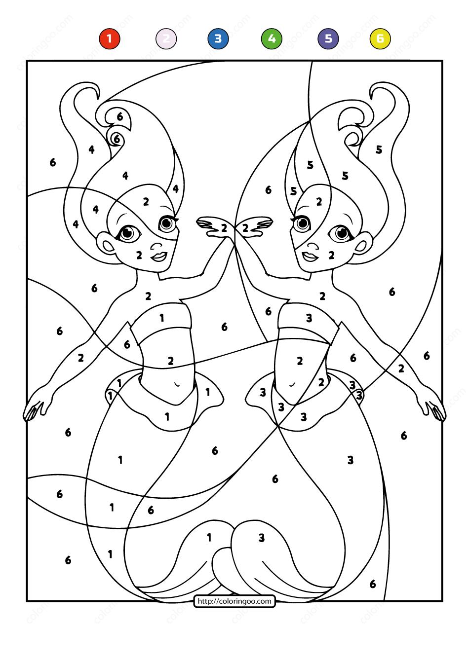 Free Printable Color By Number Ocean Mermaids 06