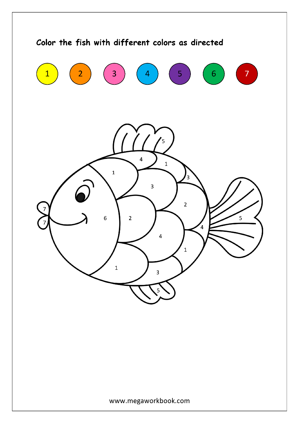 Free Printable Color By Numbers Worksheets Color