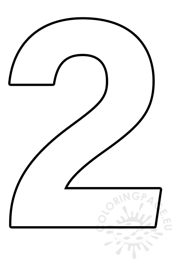 Free Printable Number 2 Template Coloring Page