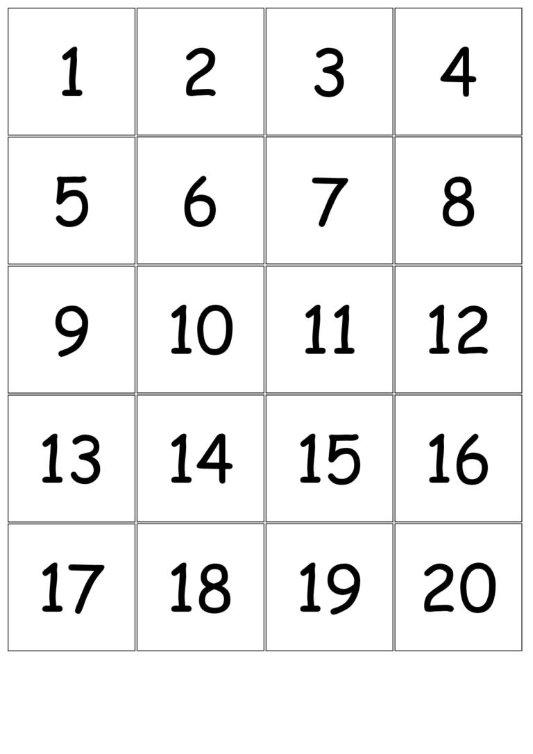 Free Printable Number Bingo Cards 1 20 Free Printable