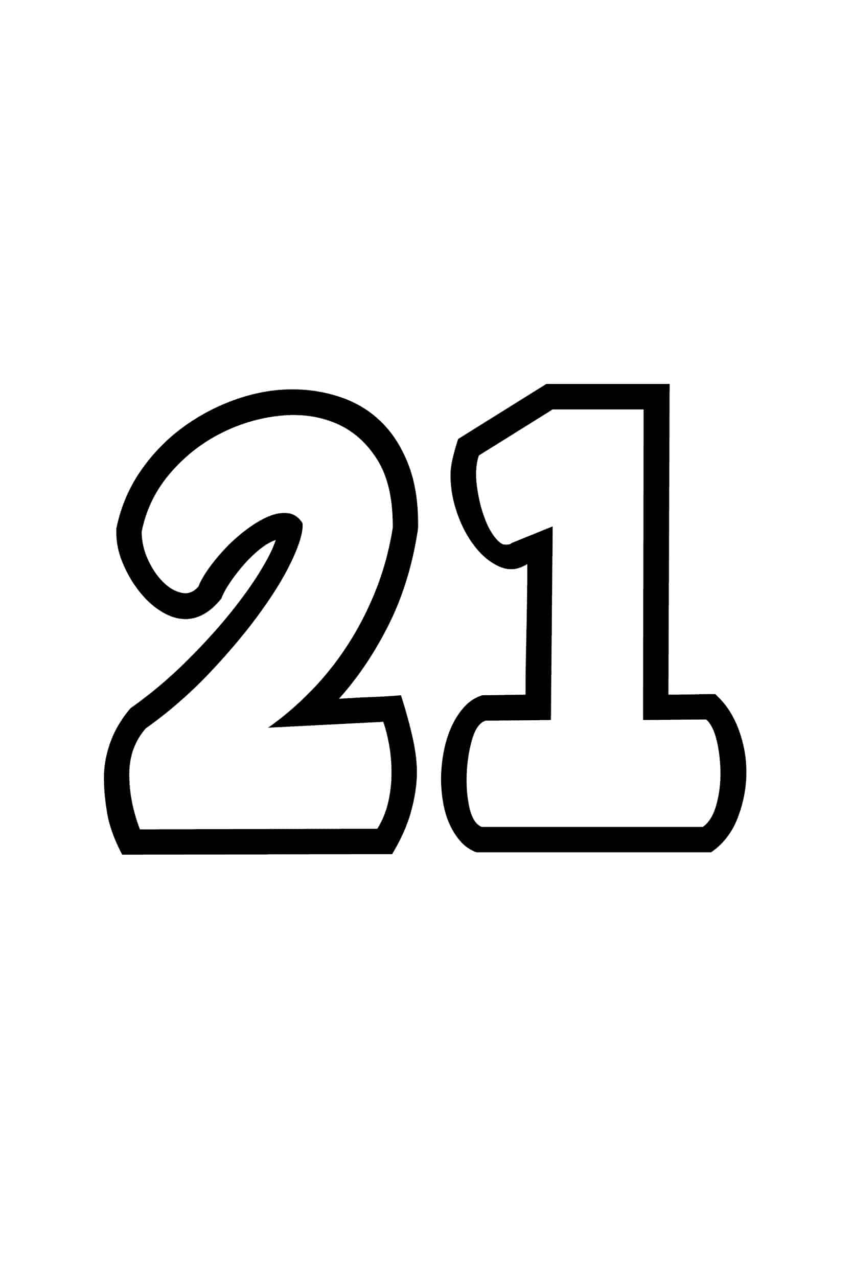 Free Printable Number Bubble Letters Bubble Number 21