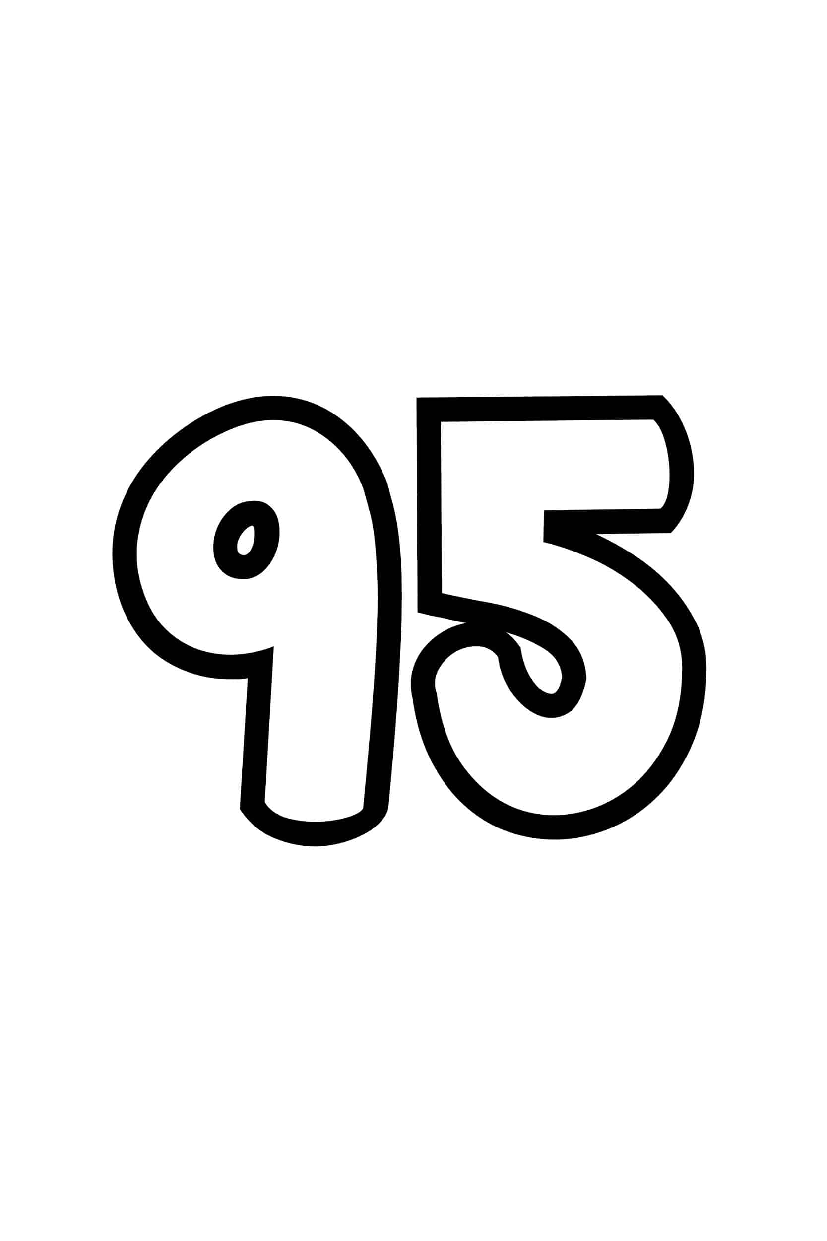 Free Printable Number Bubble Letters Bubble Number 95