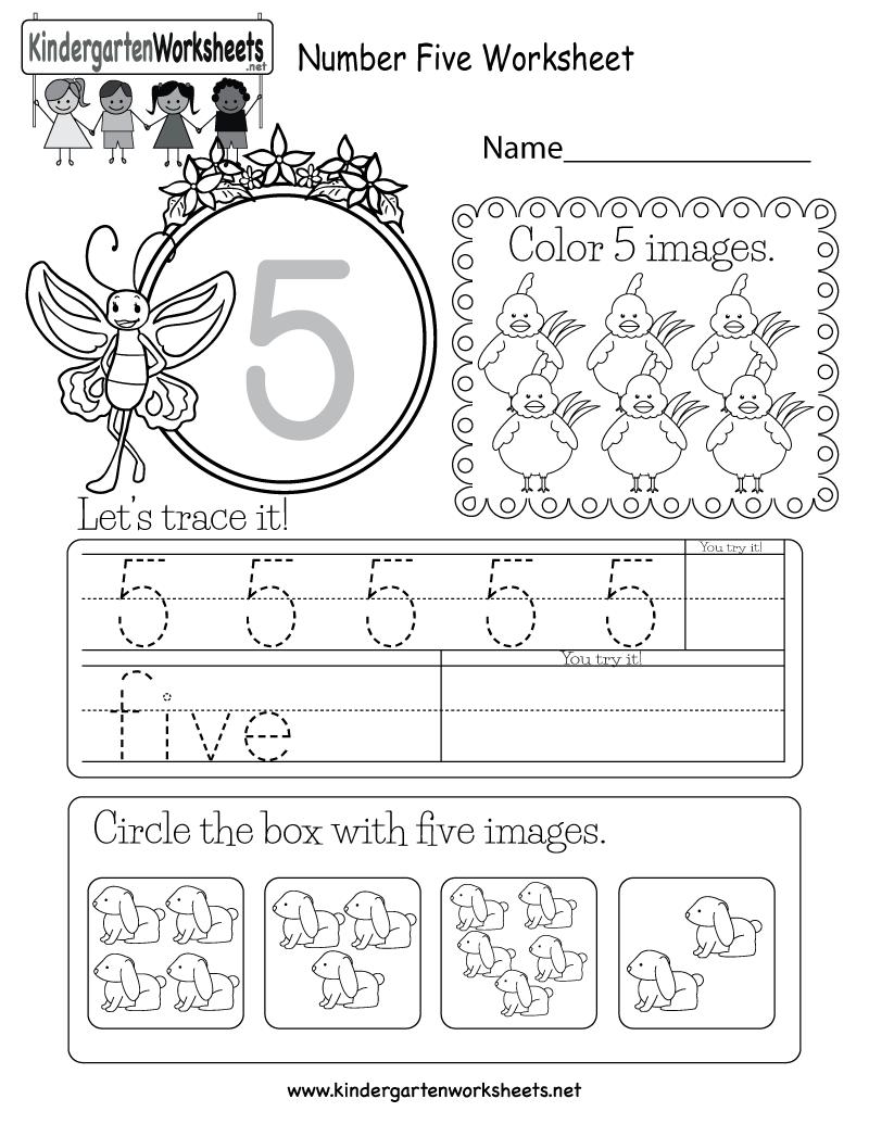 Free Printable Number Five Worksheet For Kindergarten