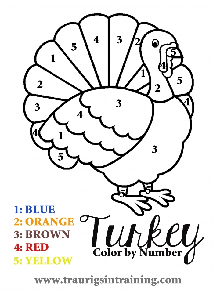 Get This Turkey Coloring Pages Color By Number 96228