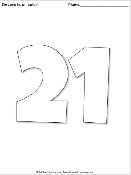 Giant Number 21 Coloring Page Made By Teachers