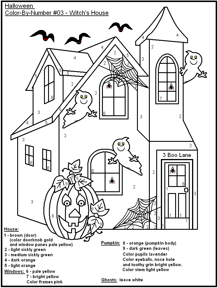 Halloween Color By Number Page Coloring Home