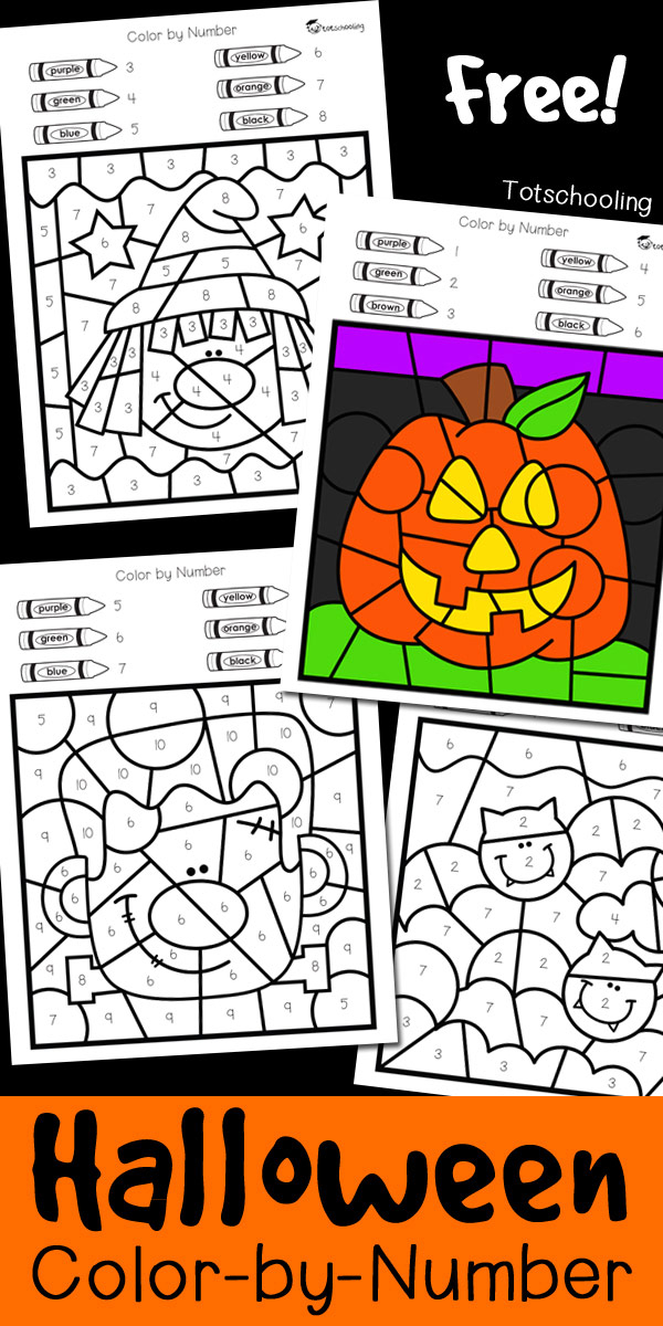 Halloween Color By Number Totschooling Toddler