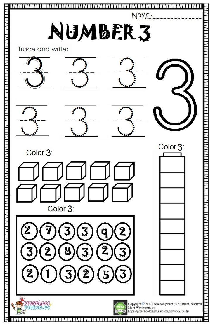 Here Is Number 3 Worksheet For Kindergarten And Preschool