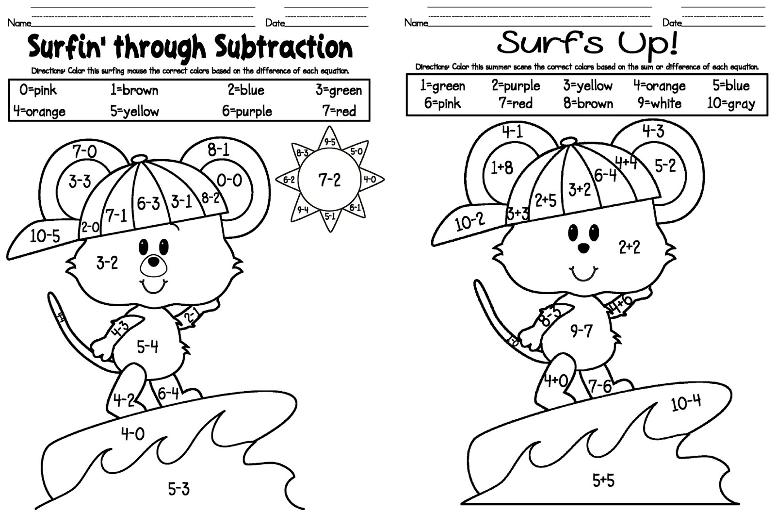 Kelly And Kim s Kreations Addition Subtraction Freebie