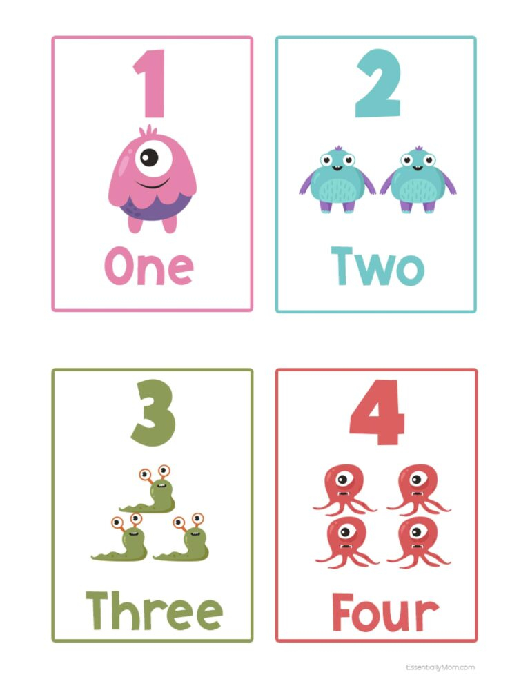 Monster Number Flash Cards FREE Printable Number Flash