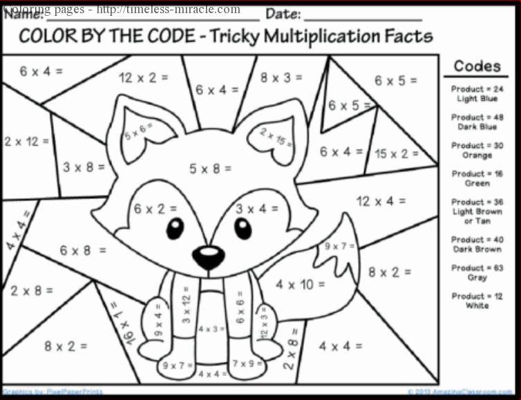 Multiplication Coloring Pages Printable Timeless miracle