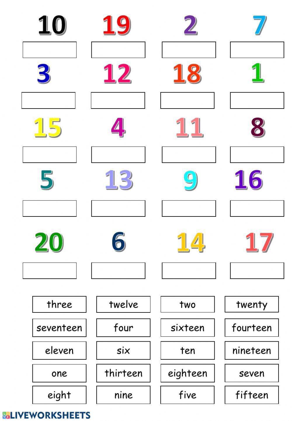 Number 1 20 Worksheet