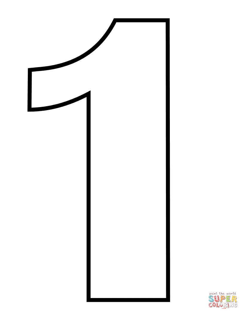 Number 1 Coloring Page Free Printable Coloring Pages