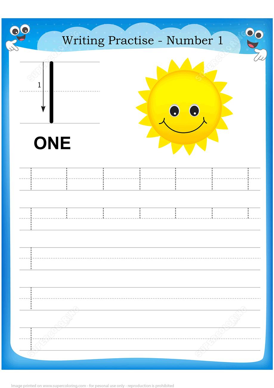 Number 1 Handwriting Practice Worksheet Free Printable