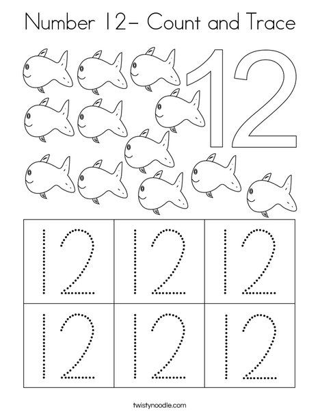 Number 12 Count And Trace Coloring Page Twisty Noodle