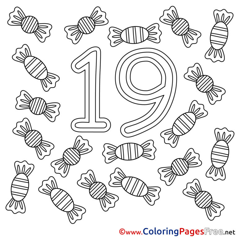 Number 19 Coloring Page At GetColorings Free