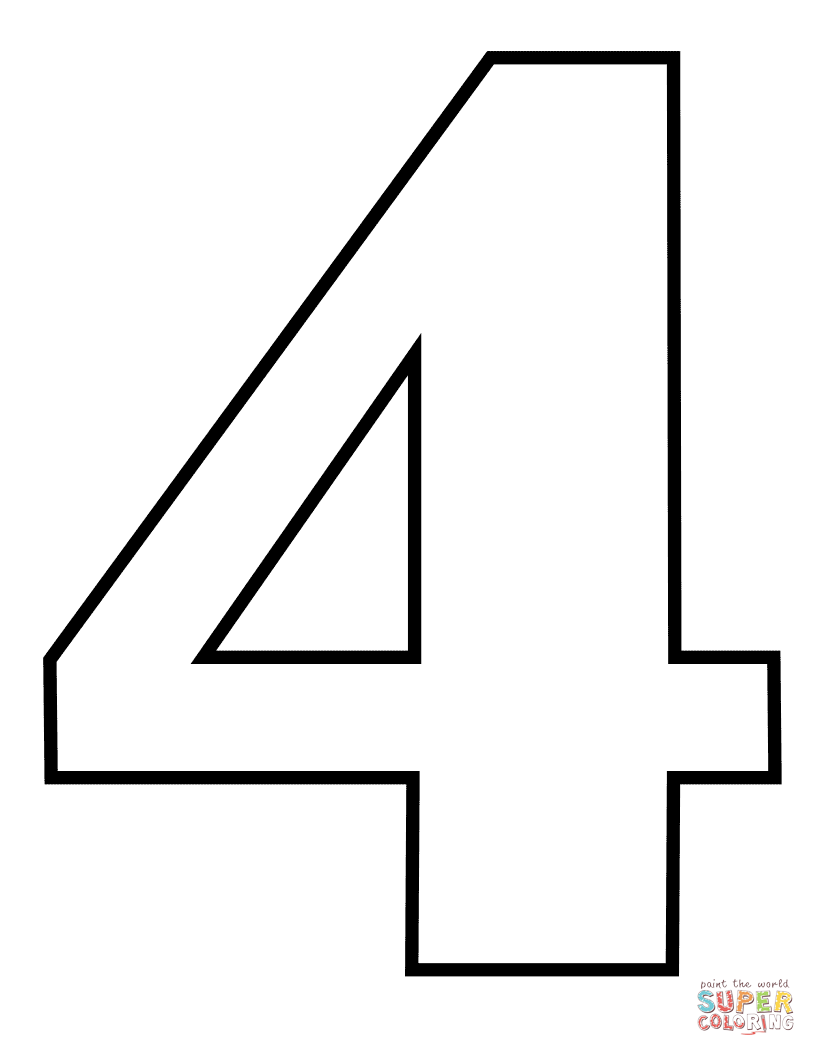 Number 4 Coloring Page Free Printable Coloring Pages