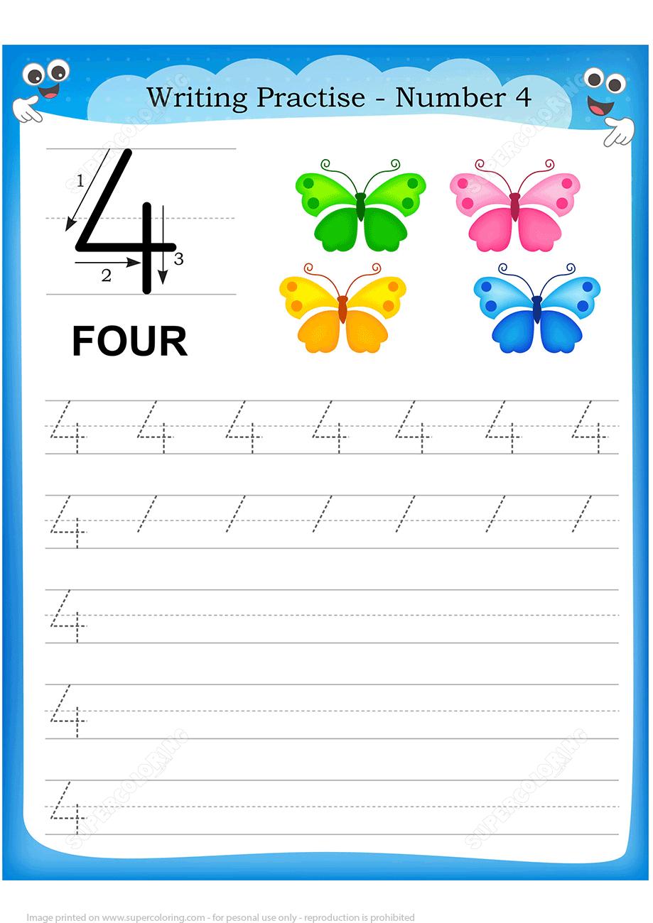 Number 4 Handwriting Practice Worksheet Free Printable