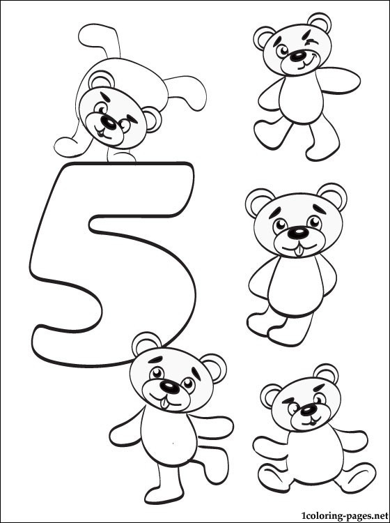 Number 5 Five Coloring Page Coloring Pages