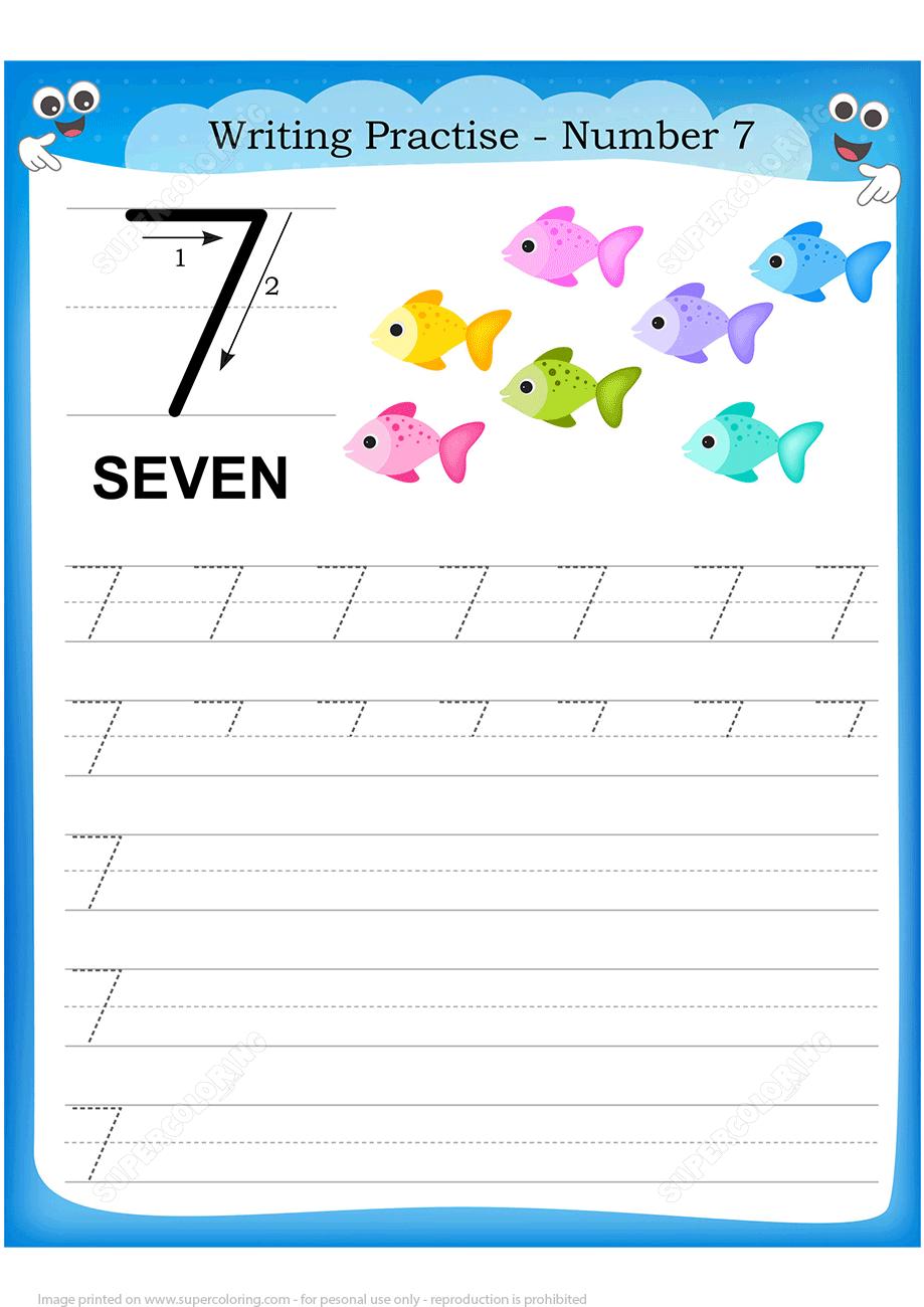 Number 7 Handwriting Practice Worksheet Free Printable