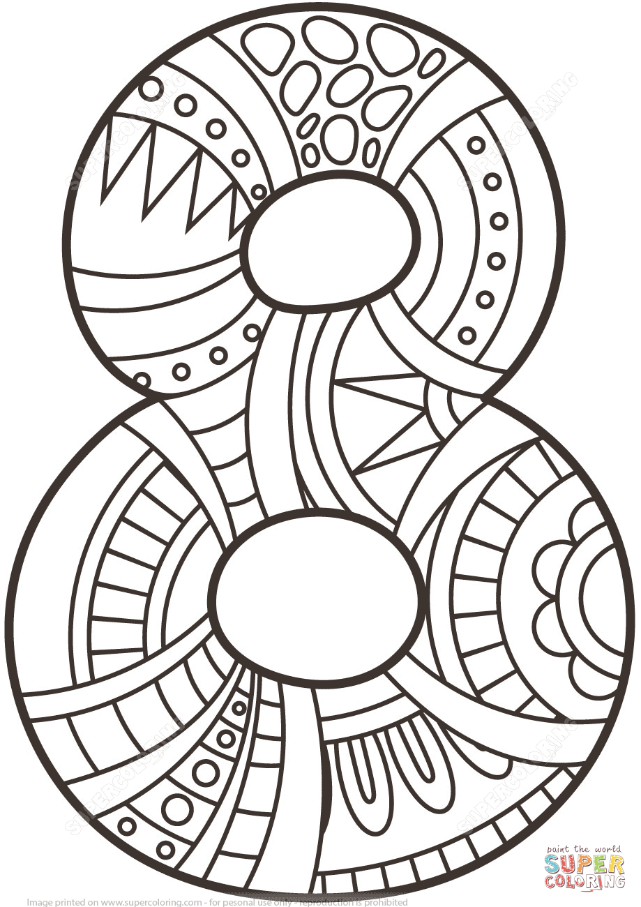 Number 8 Zentangle Coloring Page Free Printable Coloring